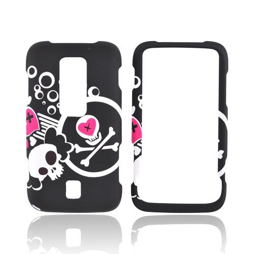 Huawei Ascend M860 Rubberized Hard Case - White Skull And Pink Heart On Black
