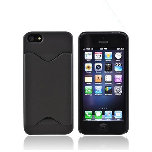 Apple iPhone 5/5S Rubberized Back Cover w/ ID Slot - Black