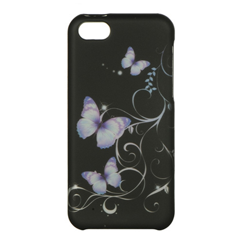 Purple Flowers on Black Rubberized Hard Case for Apple iPhone 5C