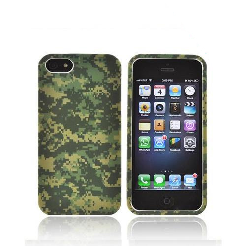 Apple iPhone 5/5S Rubberized Hard Case - Green Digital Camouflage
