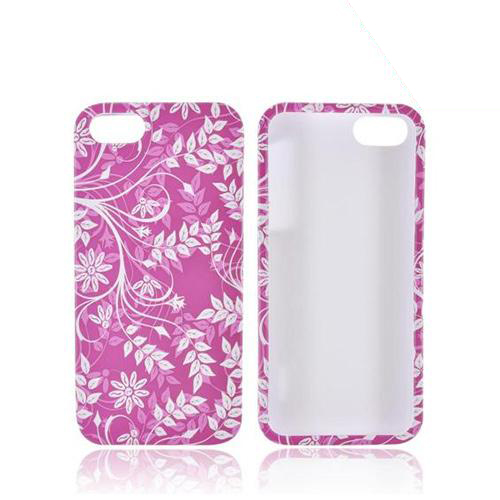 Apple iPhone 5/5S Rubberized Hard Case - White Flowers & Vines on Maroon