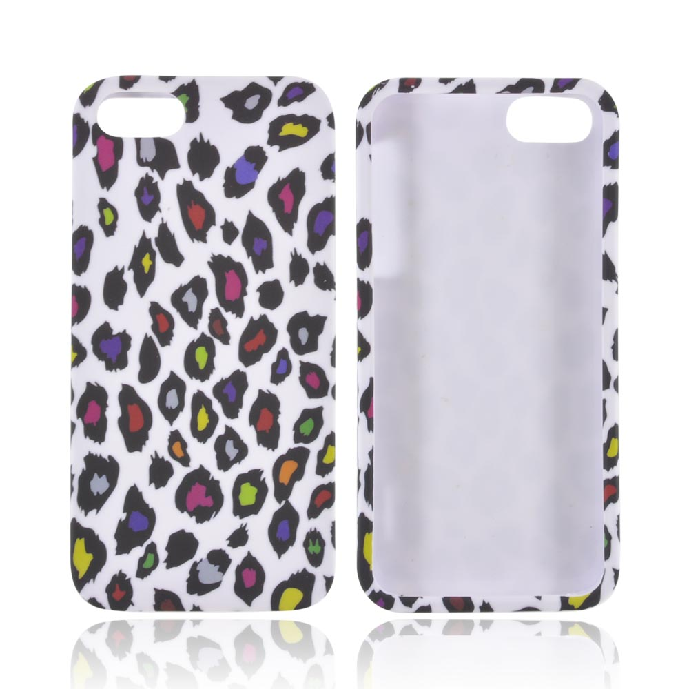 Apple iPhone 5/5S Rubberized Hard Case - Rainbow Leopard on White