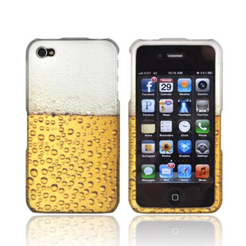 AT&T/ Verizon Apple iPhone 4, iPhone 4S Rubberized Hard Case - Gold Beer