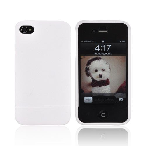 AT&T/ Verizon Apple iPhone 4, iPhone 4S Slide-On Rubberized Hard Case - White