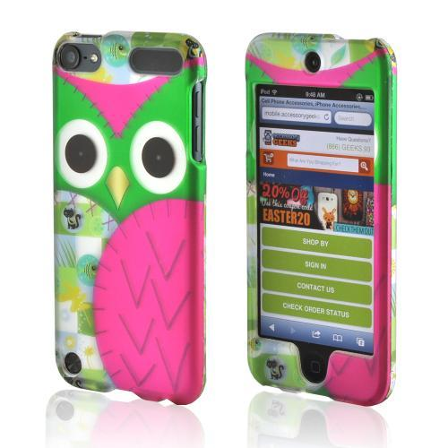 Hot Pink/ Green Owl Rubberized Hard Case for Apple iPod Touch 5