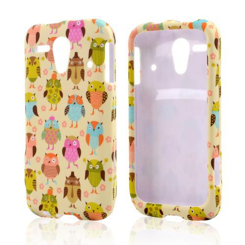 Retro Owls on Cream Rubberized Hard Case for Kyocera Hydro Edge