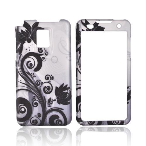 T-Mobile G2X Rubberized Hard Case - Black Floral Design on Silver