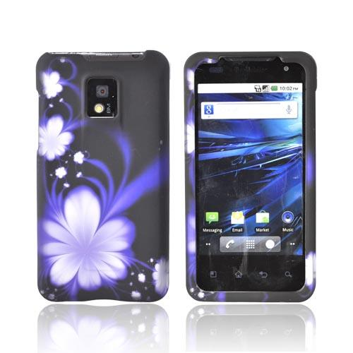 T-Mobile G2X Rubberized Hard Case - Purple Flowers on Black