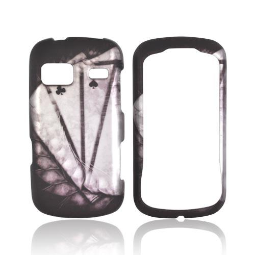 LG Rumor Reflex Rubberized Hard Case - Black/ White Aces w/ Laurel Leaf Imprint