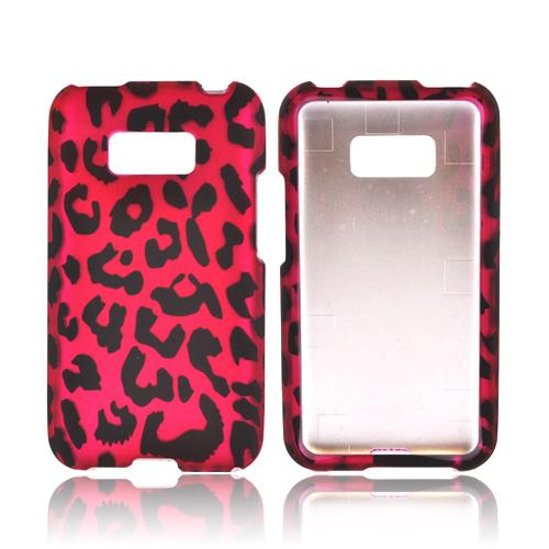 LG Optimus Elite Rubberized Hard Case - Hot Pink/ Black Leopard