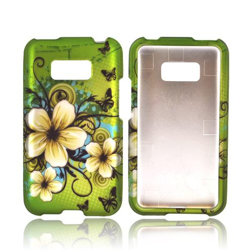 LG Optimus Elite Rubberized Hard Case - White Hawaiian Flowers on Green