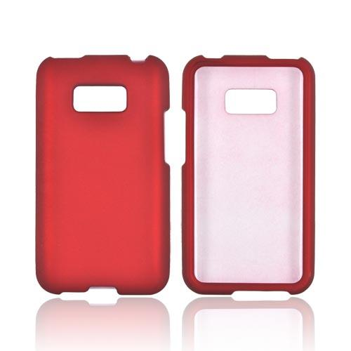 LG Optimus Elite Rubberized Hard Case - Red