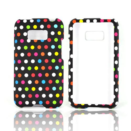 LG Optimus Elite Rubberized Hard Case - Rainbow Polka Dots on Black
