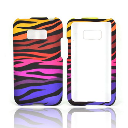 LG Optimus Elite Rubberized Hard Case - Rainbow Zebra on Black