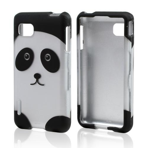 Silver/ Black Panda Bear Rubberized Hard Case for LG Optimus F3 - Sprint/ Virgin Mobile