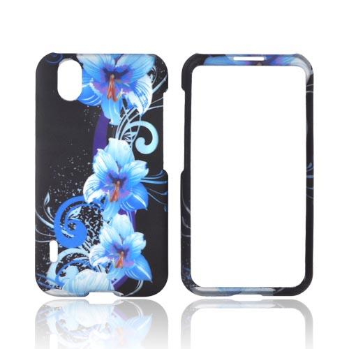 LG Marquee LS855 Rubberized Hard Case - Blue Flowers on Black