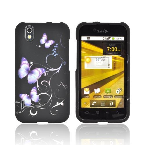 LG Marquee LS855 Rubberized Hard Case Cover - Purple Butterflies on Black