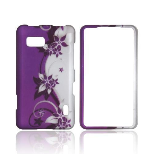 LG Mach Rubberized Hard Case - Purple Flowers/ Vines on Silver