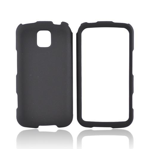 LG Optimus M MS690 Rubberized Hard Case - Black