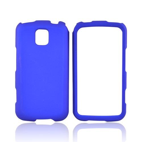 LG Optimus M MS690 Rubberized Hard Case - Blue