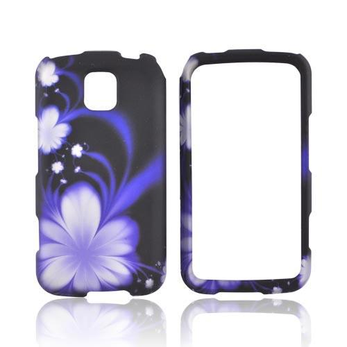 LG Optimus M MS690 Rubberized Hard Case - Purple Flowers on Black