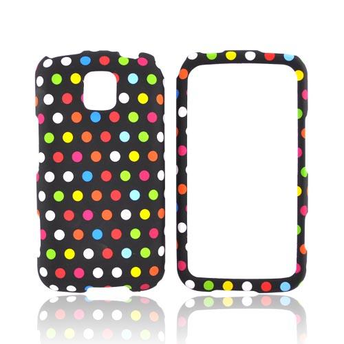 LG Optimus M MS690 Rubberized Hard Case - Rainbow Dots on Black