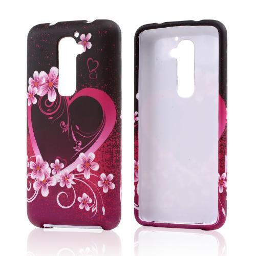 Hot Pink/ Purple Flowers and Hearts Rubberized Hard Case for LG G2 (Verizon Version)