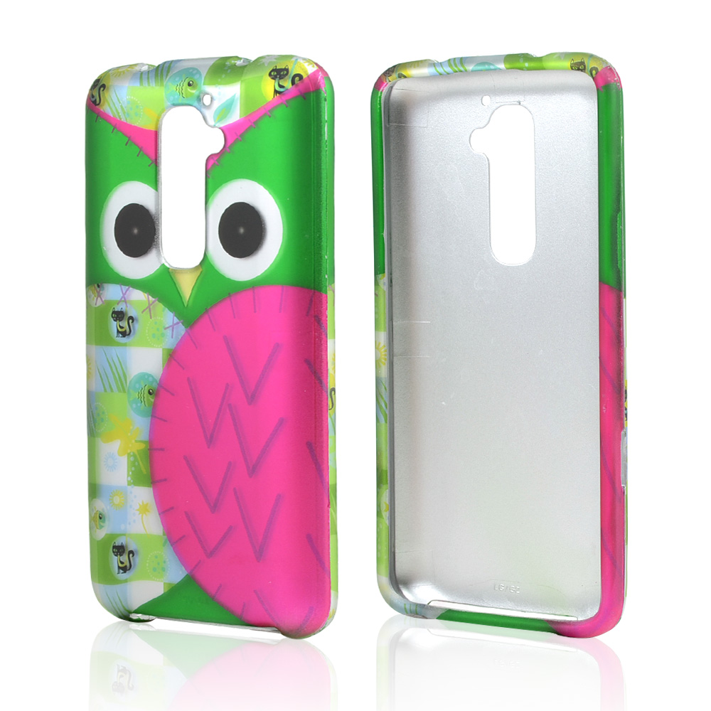 Hot Pink/ Green Owl Rubberized Hard Case for LG G2 (AT&T, T-Mobile, & Sprint)