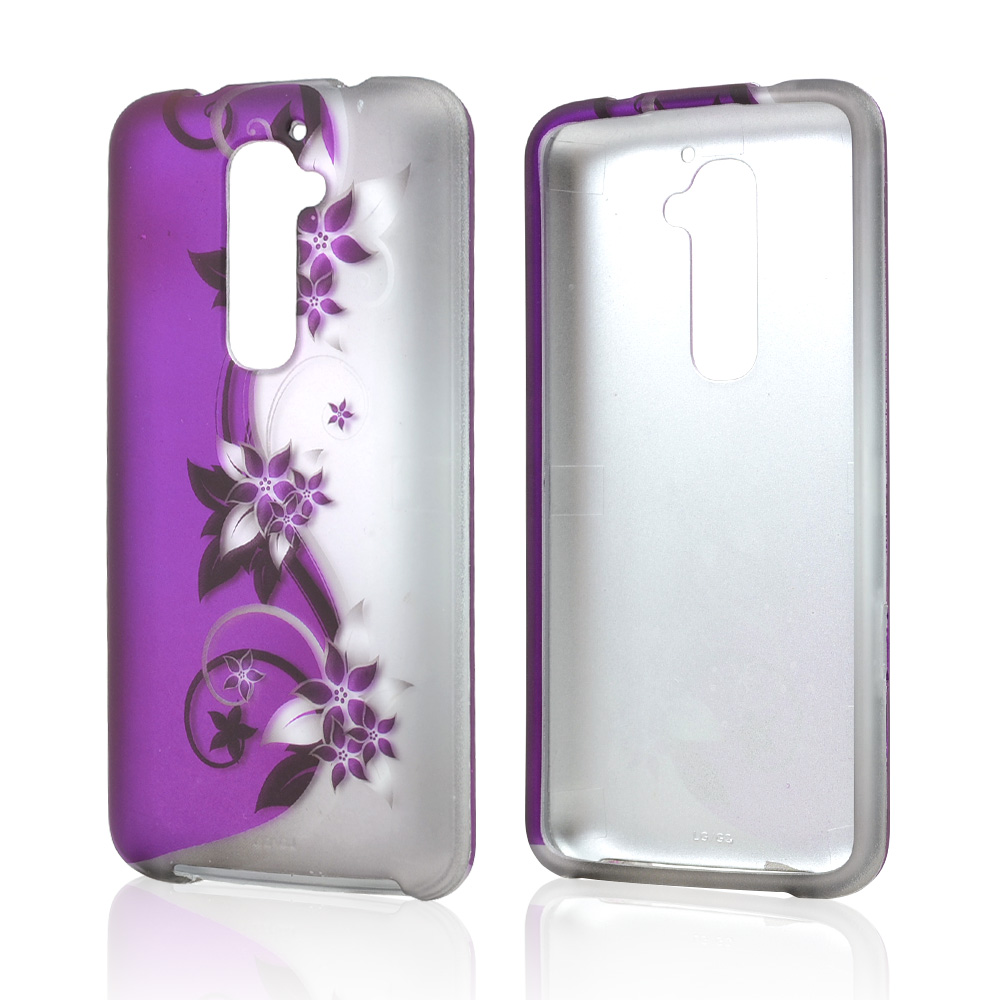 Purple Vines & Flowers on Silver Rubberized Hard Case for LG G2 (AT&T, T-Mobile, & Sprint)