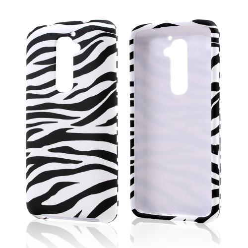 Black Zebra on White Rubberized Hard Case for LG G2 (AT&T, T-Mobile, & Sprint)