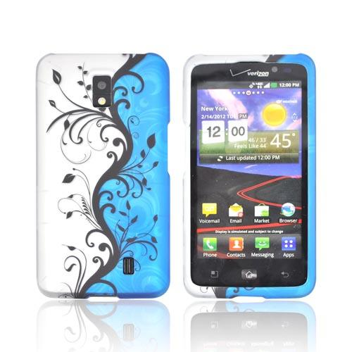 LG Spectrum Rubberized Hard Case - Black Vines on Blue/ Silver