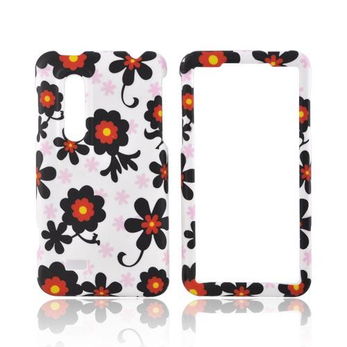 LG Thrill 4G Rubberized Hard Case - Black/ Red Daisies on White