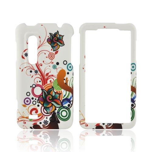 LG Thrill 4G Rubberized Hard Case - Rainbow Autumn Flowers on White