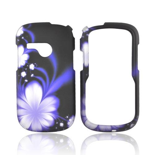 LG Saber UN200 Rubberized Hard Case - Purple Flowers on Black