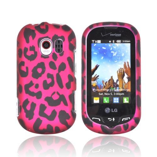 LG Extravert VN271 Rubberized Hard Case - Hot Pink/ Black Leopard