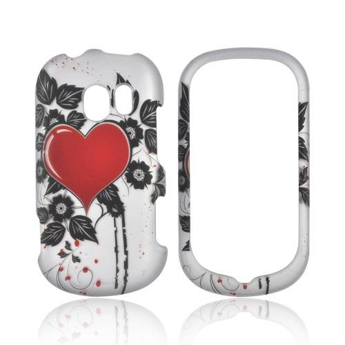 LG Extravert VN271 Rubberized Hard Case - Red Heart w/ Leaves on Silver