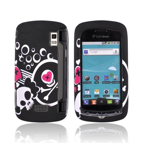 LG Genesis VS760 Rubberized Hard Case - White Skulls & Pink Hearts on Black