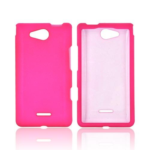 LG Lucid VS840 Rubberized Hard Case - Hot Pink