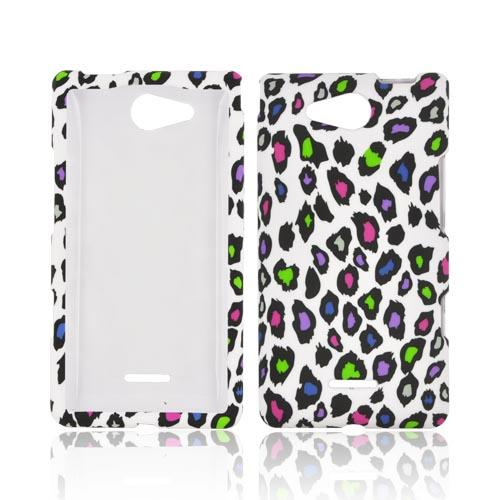 LG Lucid 4G Rubberized Hard Case - Rainbow Leopard on White