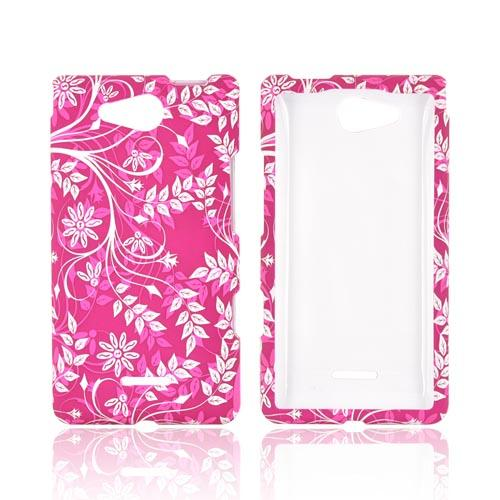 LG Lucid 4G Rubberized Hard Case - White Vines & Flowers on Magenta