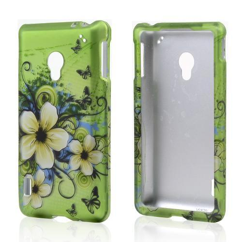 White Hawaiian Flowers on Green Rubberized Hard Case for LG Lucid 2