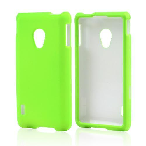 Neon Green Rubberized Hard Case for LG Lucid 2