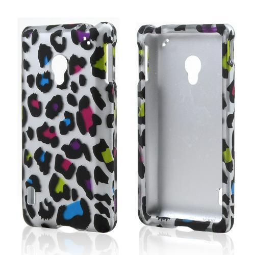 Rainbow Leopard on Silver Rubberized Hard Case for LG Lucid 2