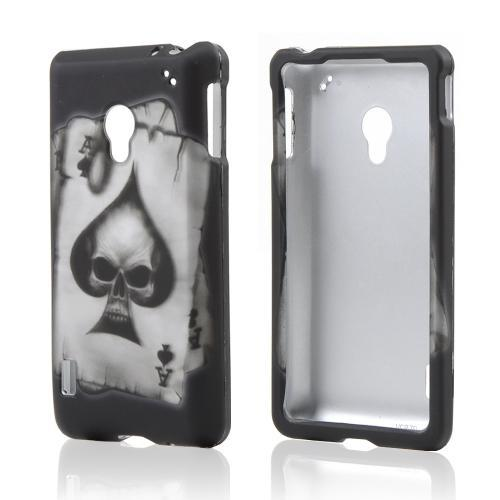 Ace Spade Skull on Black Rubberized Hard Case for LG Lucid 2