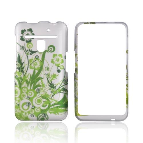LG Revolution, LG Esteem Rubberized Hard Case - Green Flowers on Silver