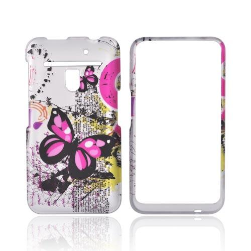 LG Revolution, LG Esteem Rubberized Hard Case - Pink Butterflies on Silver