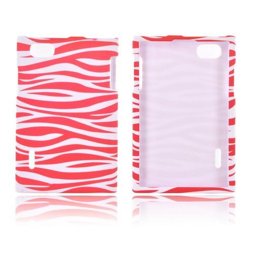 LG Optimus Vu VS950 Rubberized Hard Case - Hot Pink/ White Zebra