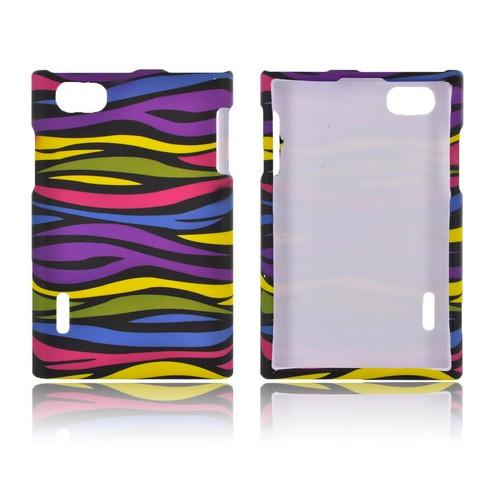 LG Optimus Vu VS950 Rubberized Hard Case - Rainbow Zebra on Black