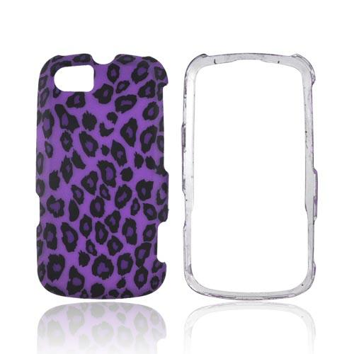 Motorola Admiral Rubberized Hard Case - Purple/ Black Leopard