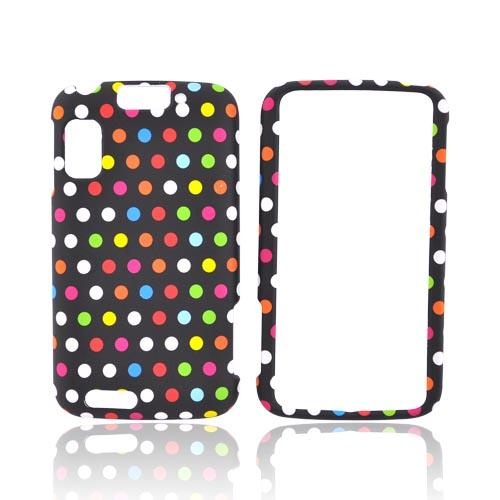 Motorola Atrix 4G Rubberized Hard Case - Colorful Polka Dots on Black